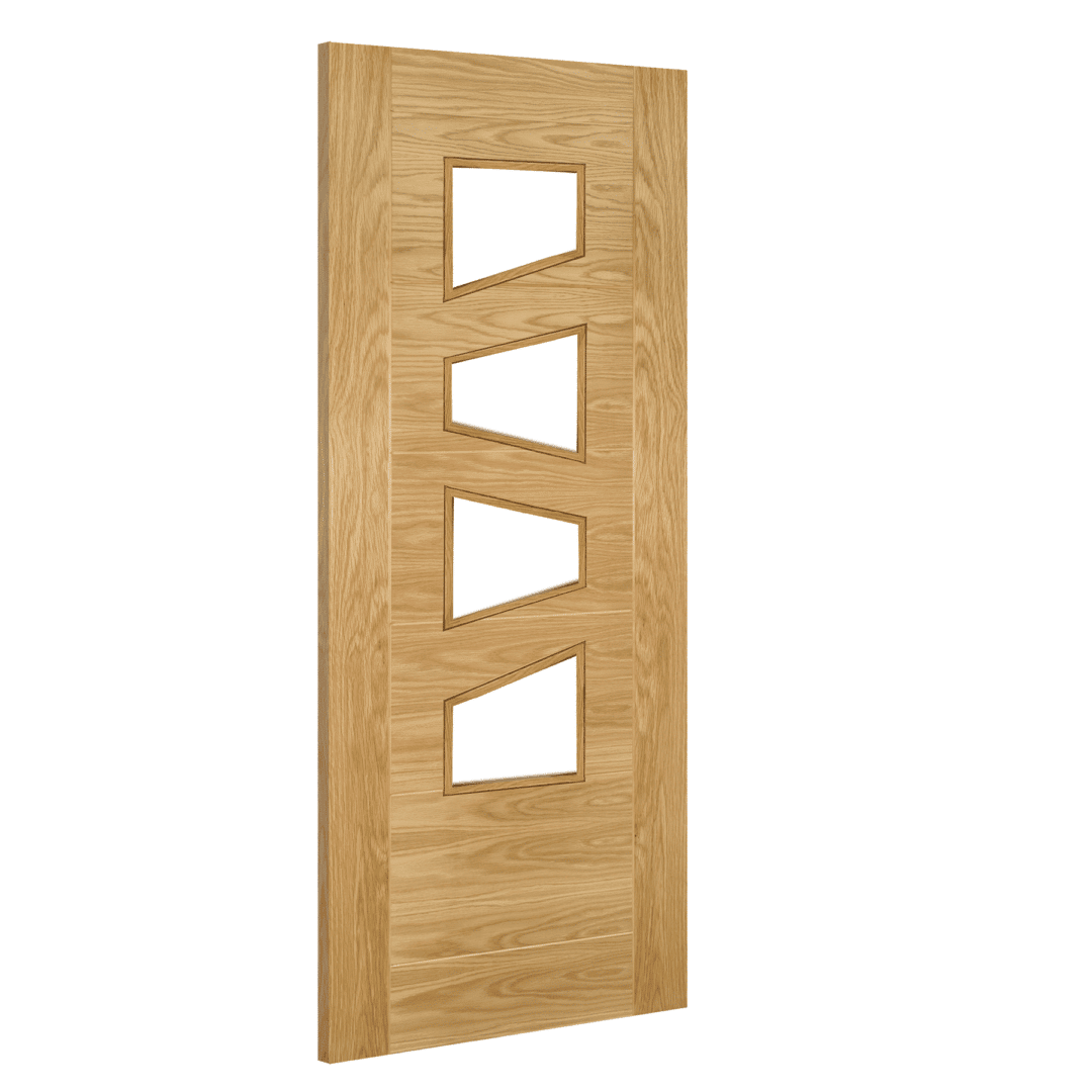 deanta seville clear glazed slanted prefinished oak internal door