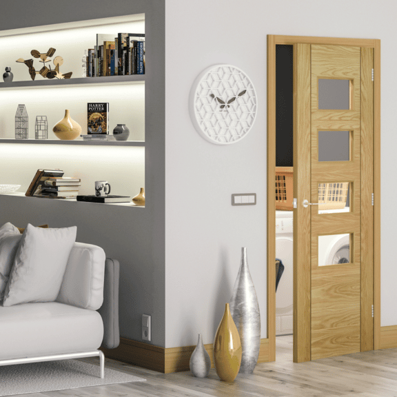 deanta seville clear glazed straight prefinished oak interior door
