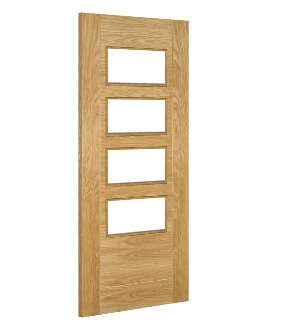 deanta seville clear glazed straight prefinished oak internal door