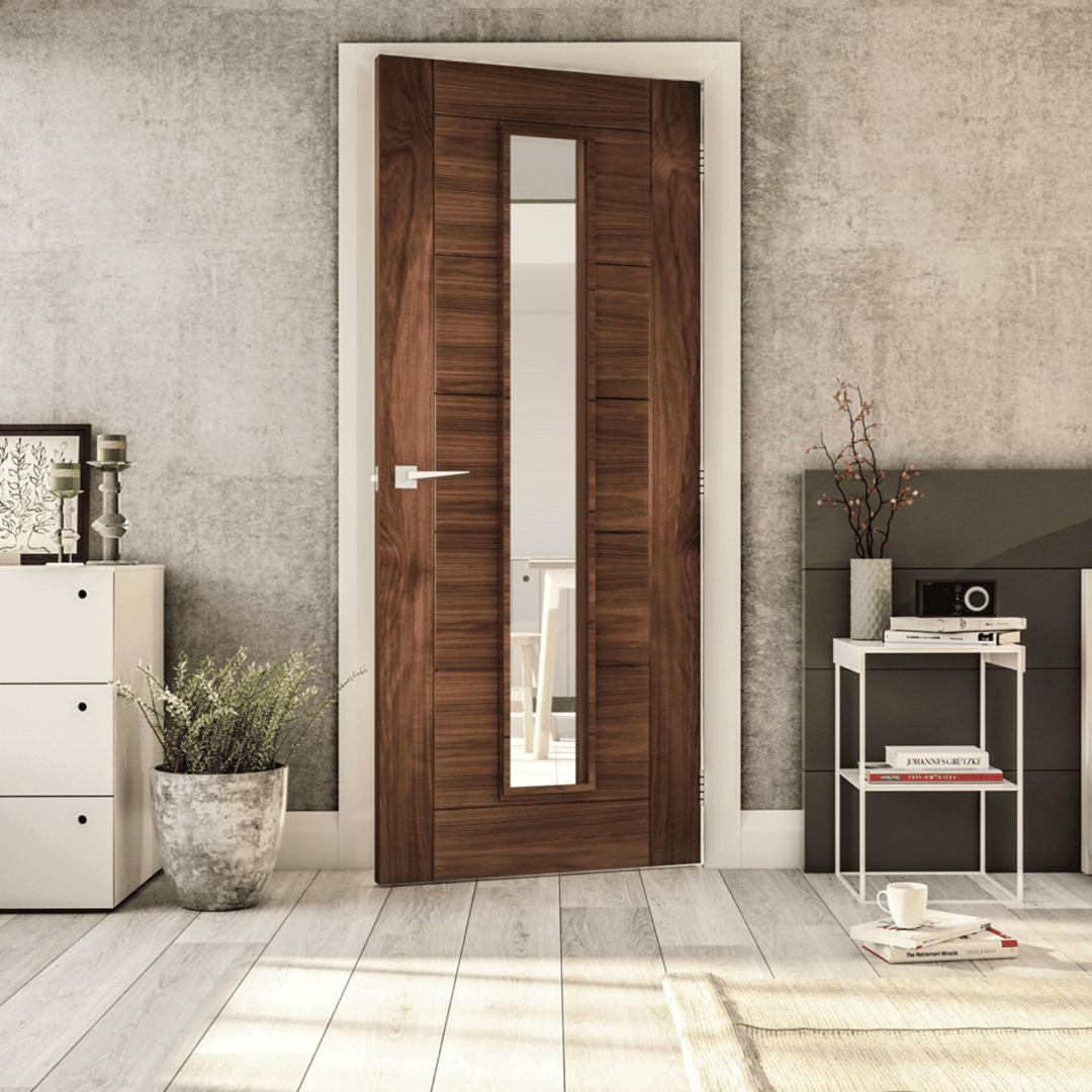 deanta seville glazed internal walnut door