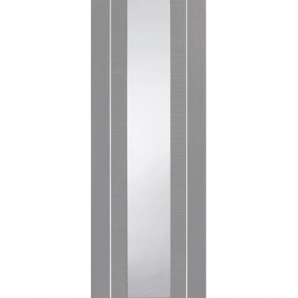 XL Joinery Forli Pre-Finished Light Grey Door with Clear Glass - 1981mm-x-686mm-x-35mm