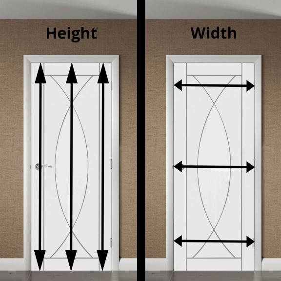 measuring the door height and measuring the door width