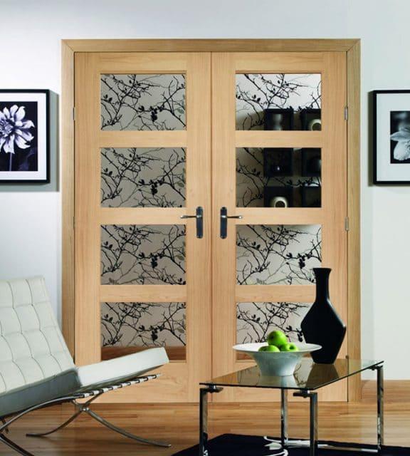 internal double glass door 4 panel shaker clear