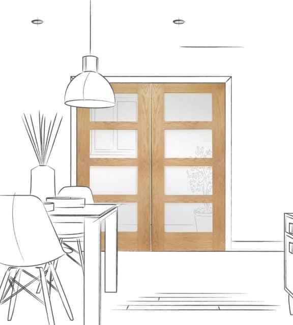 interior shaker 4 panel clear glass door dining room double