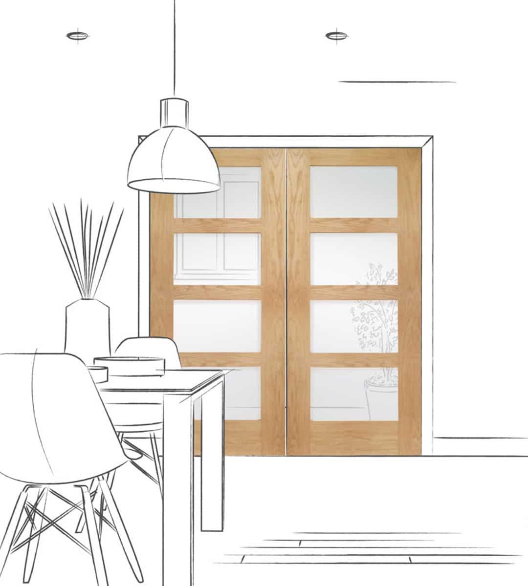 internal shaker 4 panel glazed door dining room double