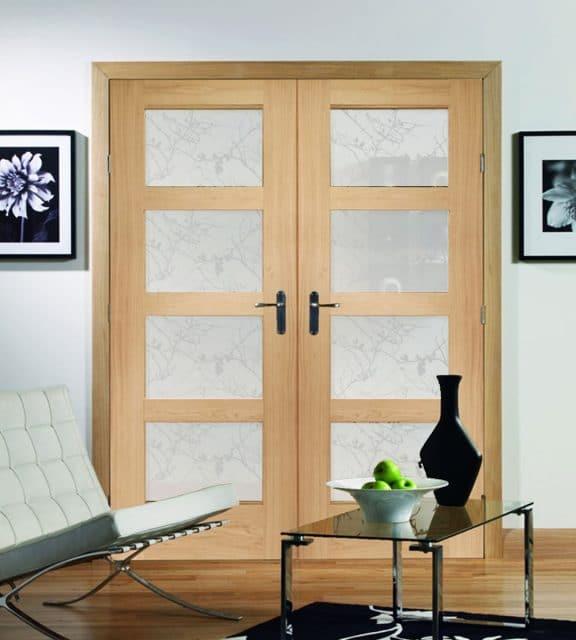 interior shaker 4 panel glazed door obscure room double