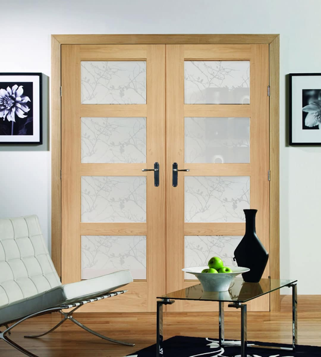 Shaker oak 4 panel door with obscure glass shawfield doors for Double glazed glass panels
