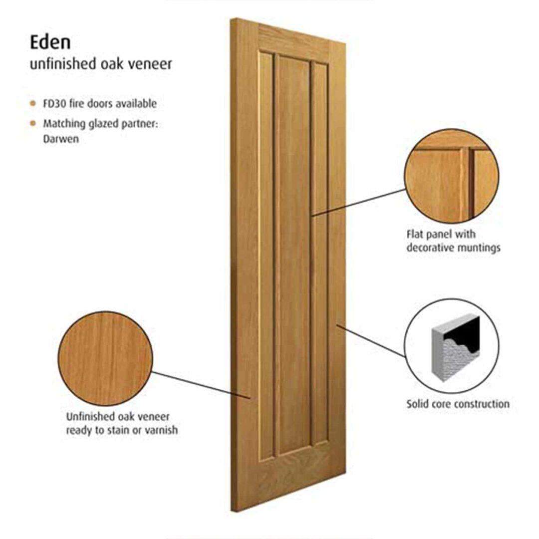 jb kind eden oak internal door unfinished
