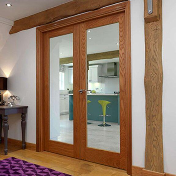 jb kind fuji oak glazed internal door