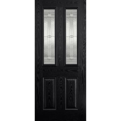 LPD Doors GRP Malton Black Glazed 2L External Door - 1981mm-x-838mm-x-44mm