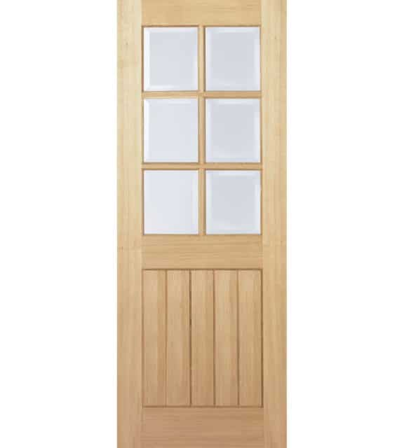 lpd doors oak mexicano with 6 clear bevelled glass panels