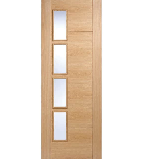 lpd doors oak vancouver glazed 4l clear glass offset internal door