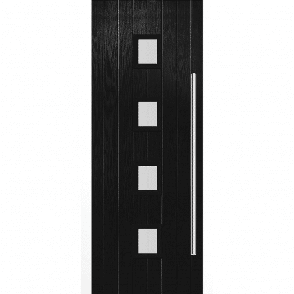 Milton Black External Glazed Door Set - 2030mm-x-890mm-x-70mm-left-opening