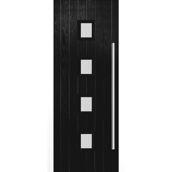 malton black glazed exterior door