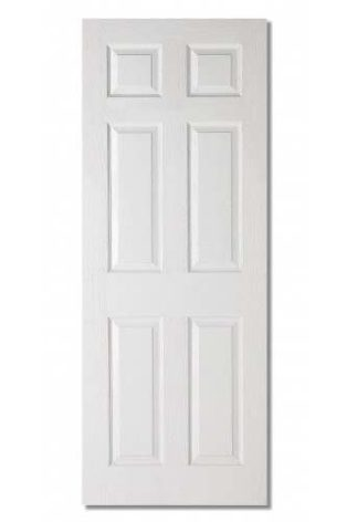 Shawfield Colonial White Satin Grained 3 & 6 Panel Moulded Door - 78 X 24 X 35MM INT 6 PANEL TEXTURED (6'6