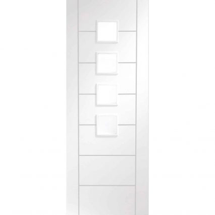 Palermo Internal White Primed Obscure Glass Door - 1981mm-x-686mm-x-35mm