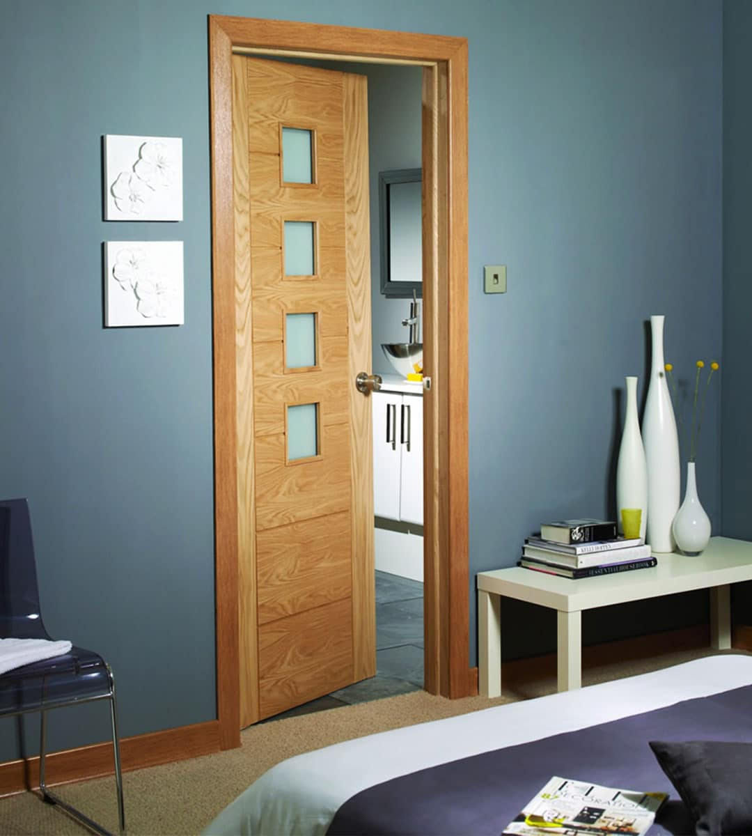 Bedroom Door: Palermo Oak Fire Door With Obscure Glass