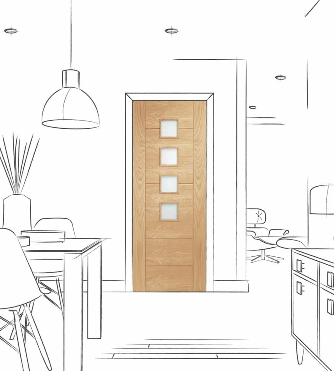 palermo interior glass door obscure glazed kitchen door