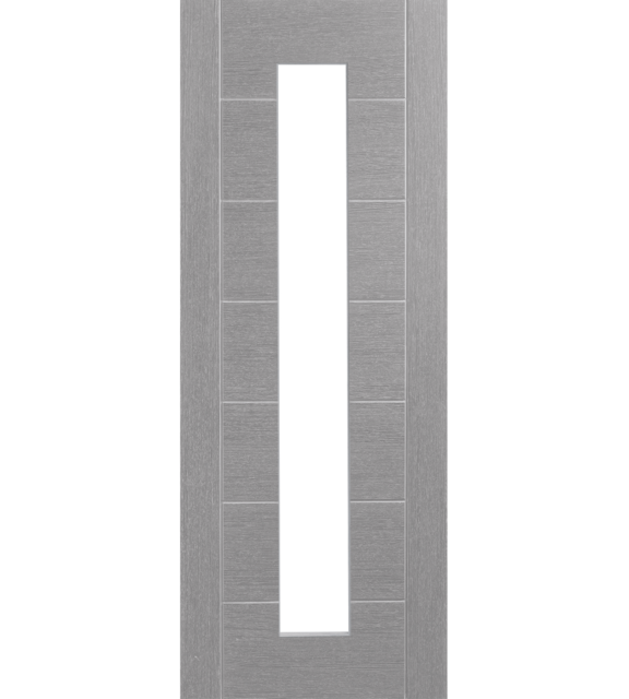 Palermo Prefinished Light Grey Internal Door with Clear Glass