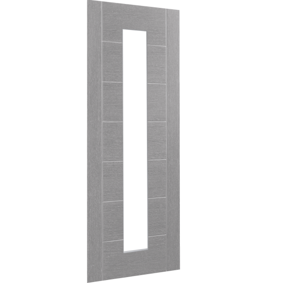 Palermo Prefinished Light Grey Interior Door with Clear Glass