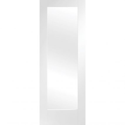 Pattern 10 Internal White Primed Fire Door with Clear Glass - 1981mm-x-686mm-x-35mm