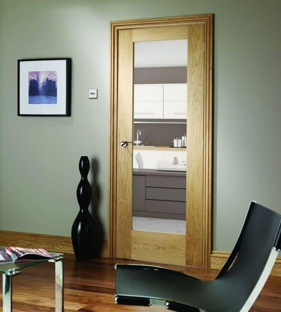 Pattern 10 Internal Oak Door with Clear Glass Room