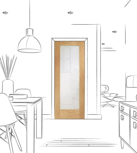 Pattern 10 Internal Oak Door with Clear Glass Room Alt