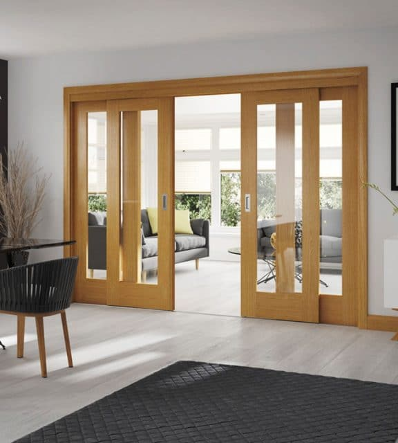 Pattern 10 Internal Oak Door with Clear Glass Sliding Doors
