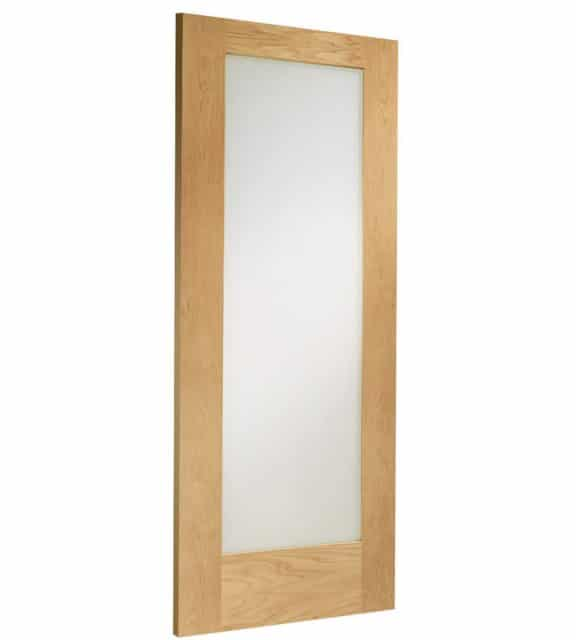 Pattern 10 Internal Oak Door with Clear Glass Skew