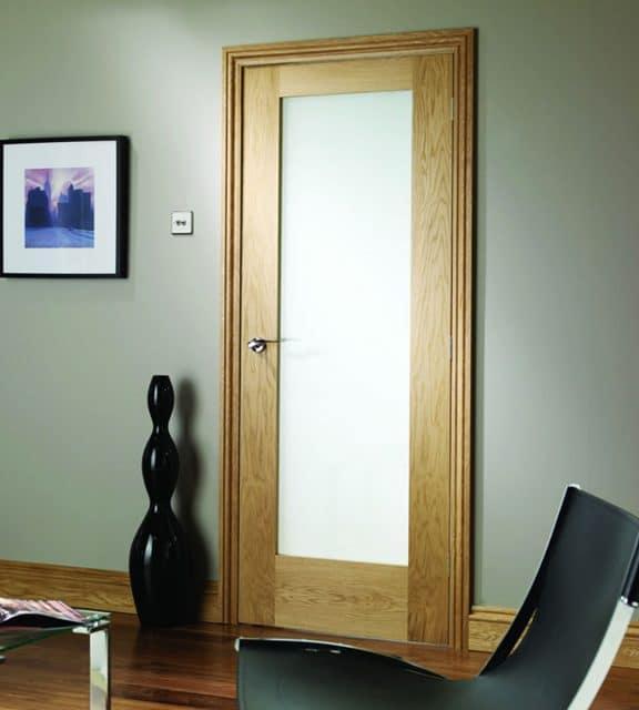 Pattern 10 Internal Oak Door with Obscure Glass Room