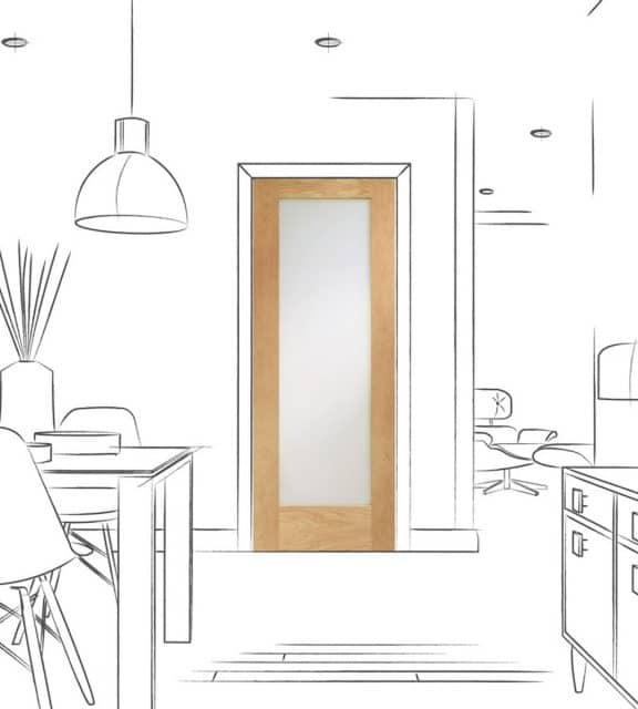 Pattern 10 Internal Oak Door with Obscure Glass Room Alt