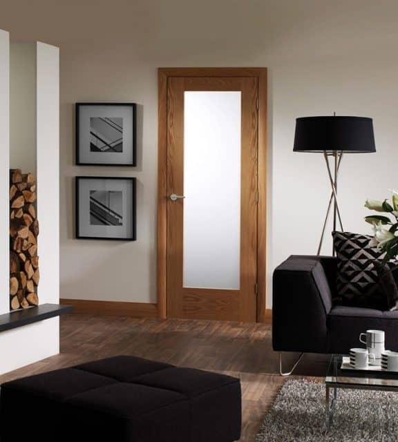 Pattern 10 Internal Oak Door with Obscure Glass Room Dark