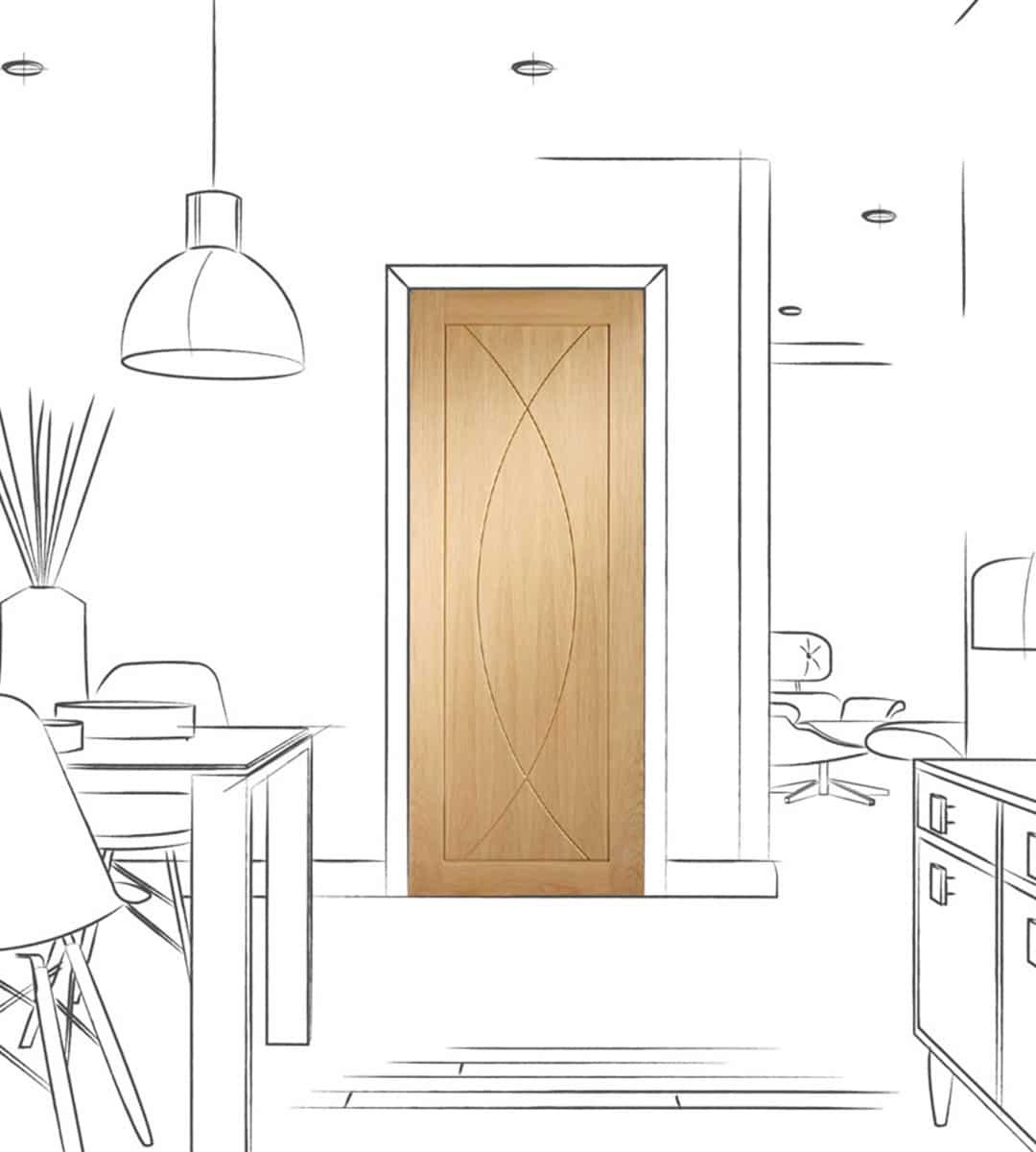 pesaro interior oak door dining room