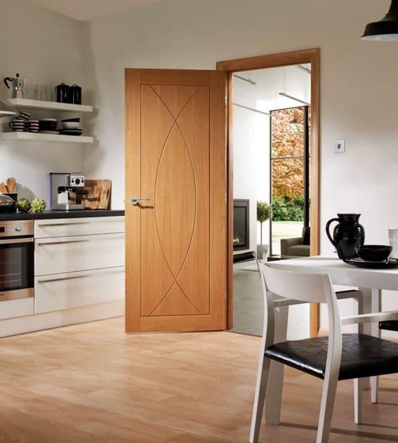 pesaro interior oak door open room wooden