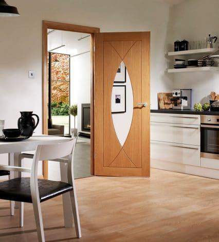 Pesaro Oak Door With Clear Glass Shawfield Doors