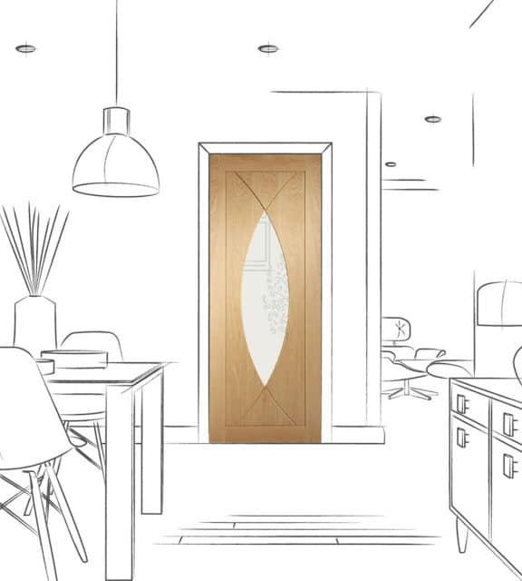 pesaro oak interior glazed door dining room
