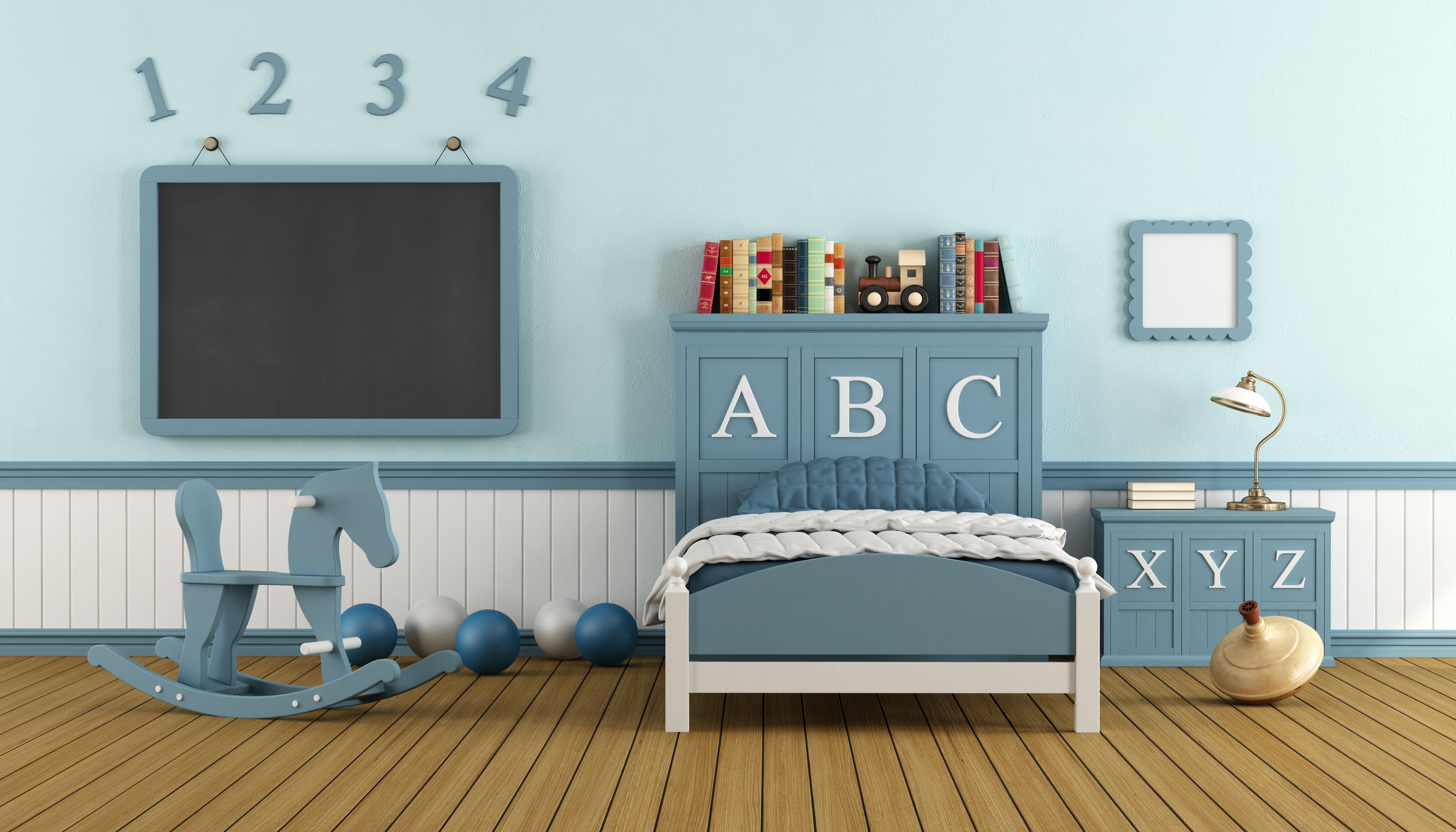 Retro Child Bedroom With Blue Wooden Bed Blackboard And Toys Shawfield Doors