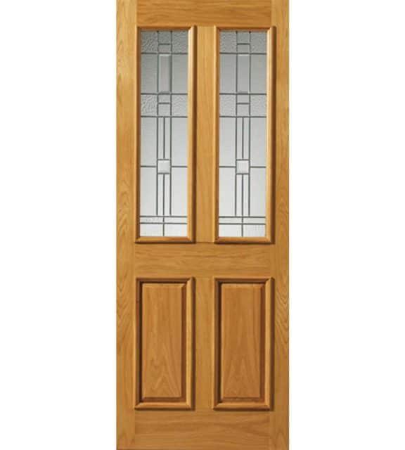 rioja obscure glass door with zinc camings oak exterior door