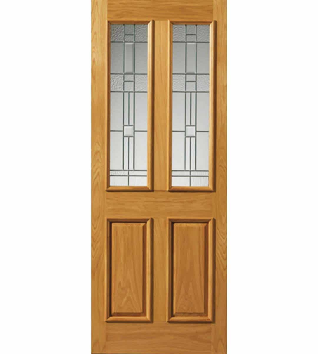 rioja obscure glass door with zinc camings oak exterior door