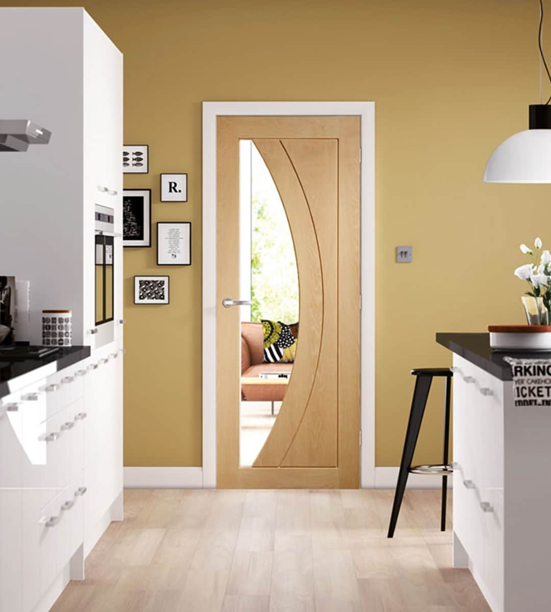Salerno Oak Internal Door with Clear Glass | Shawfield Doors