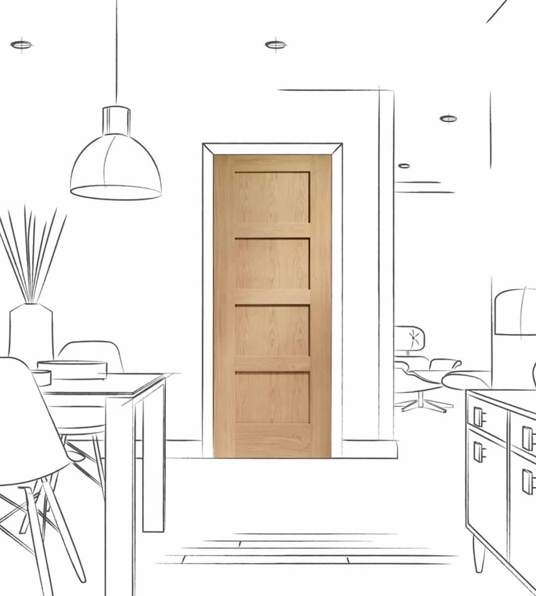 shaker internal oak 4 panel kitchen door