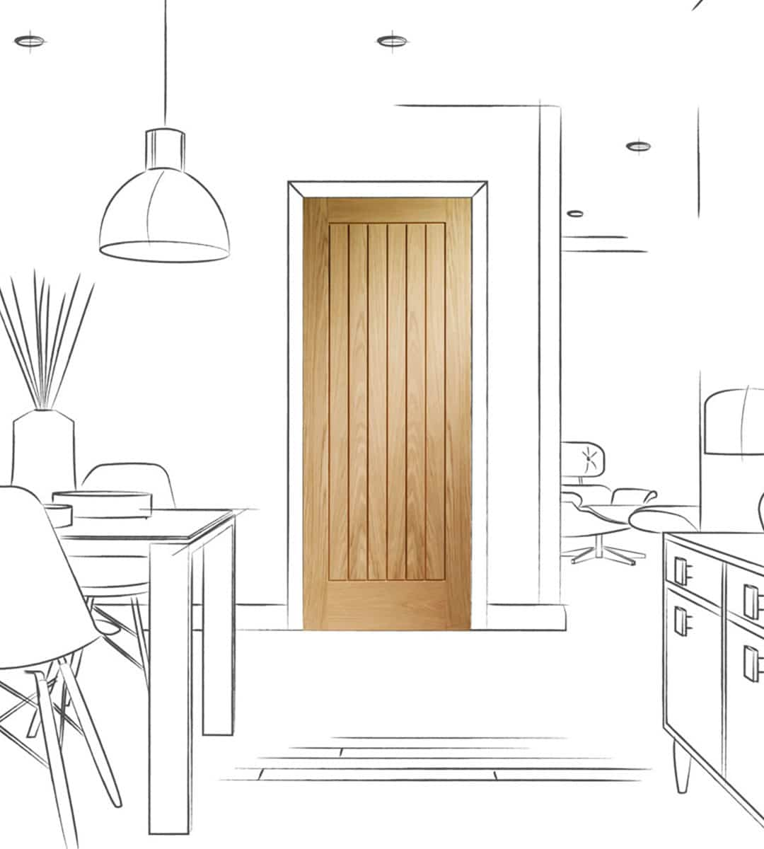 suffolk oak internal bedroom dining room door
