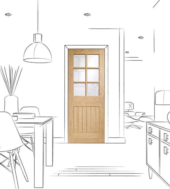 suffolk oak internal glass door dining room