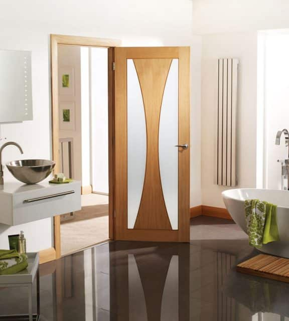 Internal Oak Door Verona with Obscure Glass Open Room