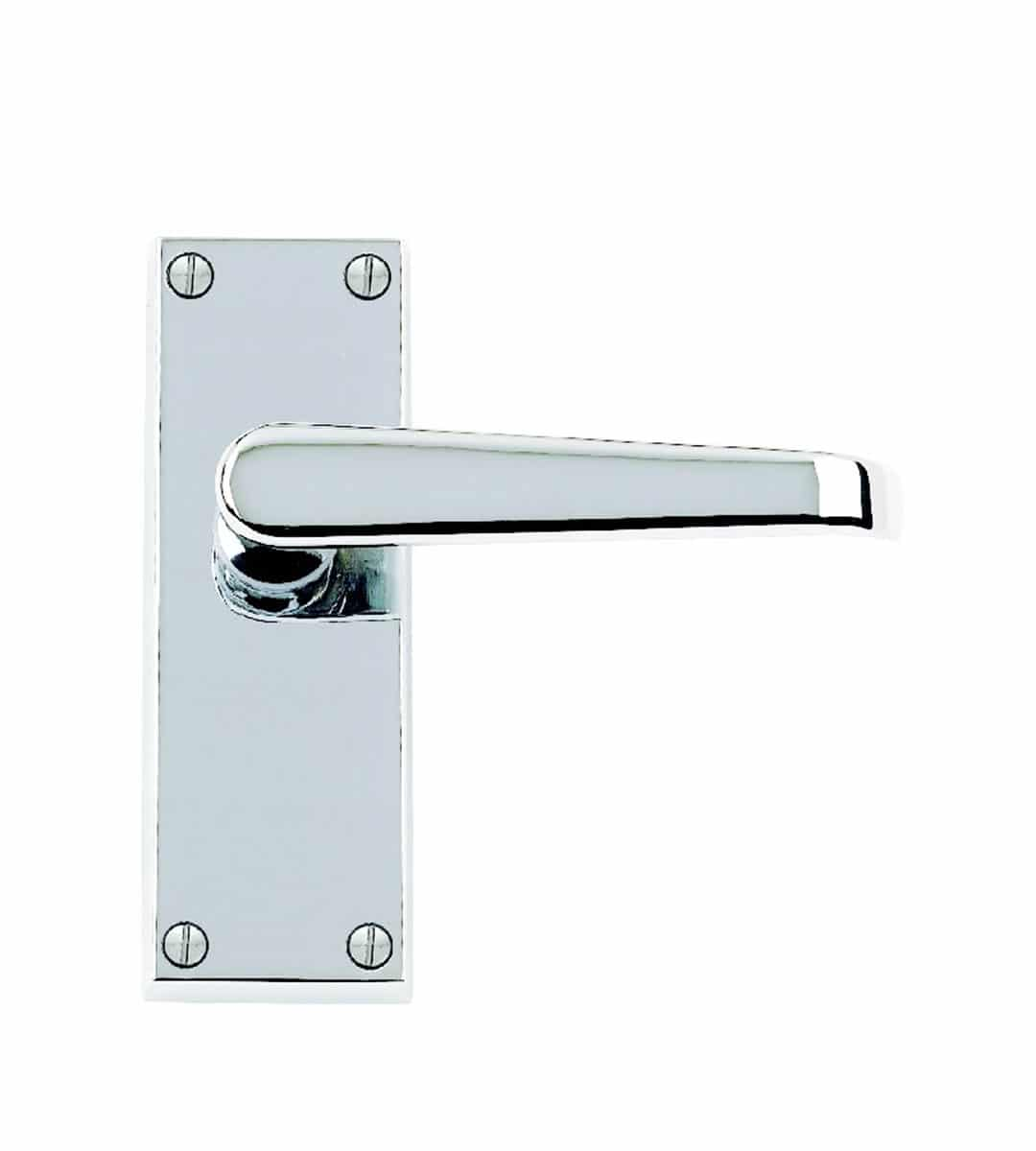 Victorian Flat Polished Chrome Door Handle Rectangular Back Plate