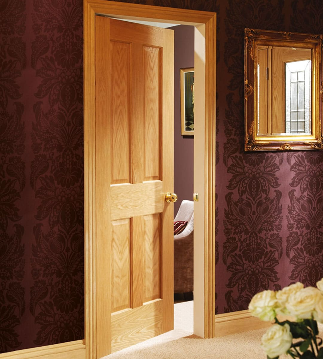 victorian oak internal 4 panel door bedroom