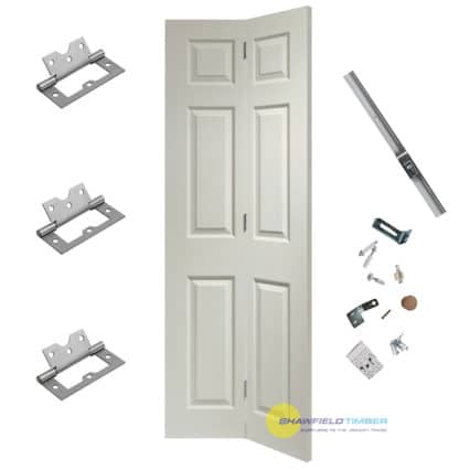 White BiFold Door Shaker 6 Panel Includes Free Track - 1981mm-x-686mm-x-35mm