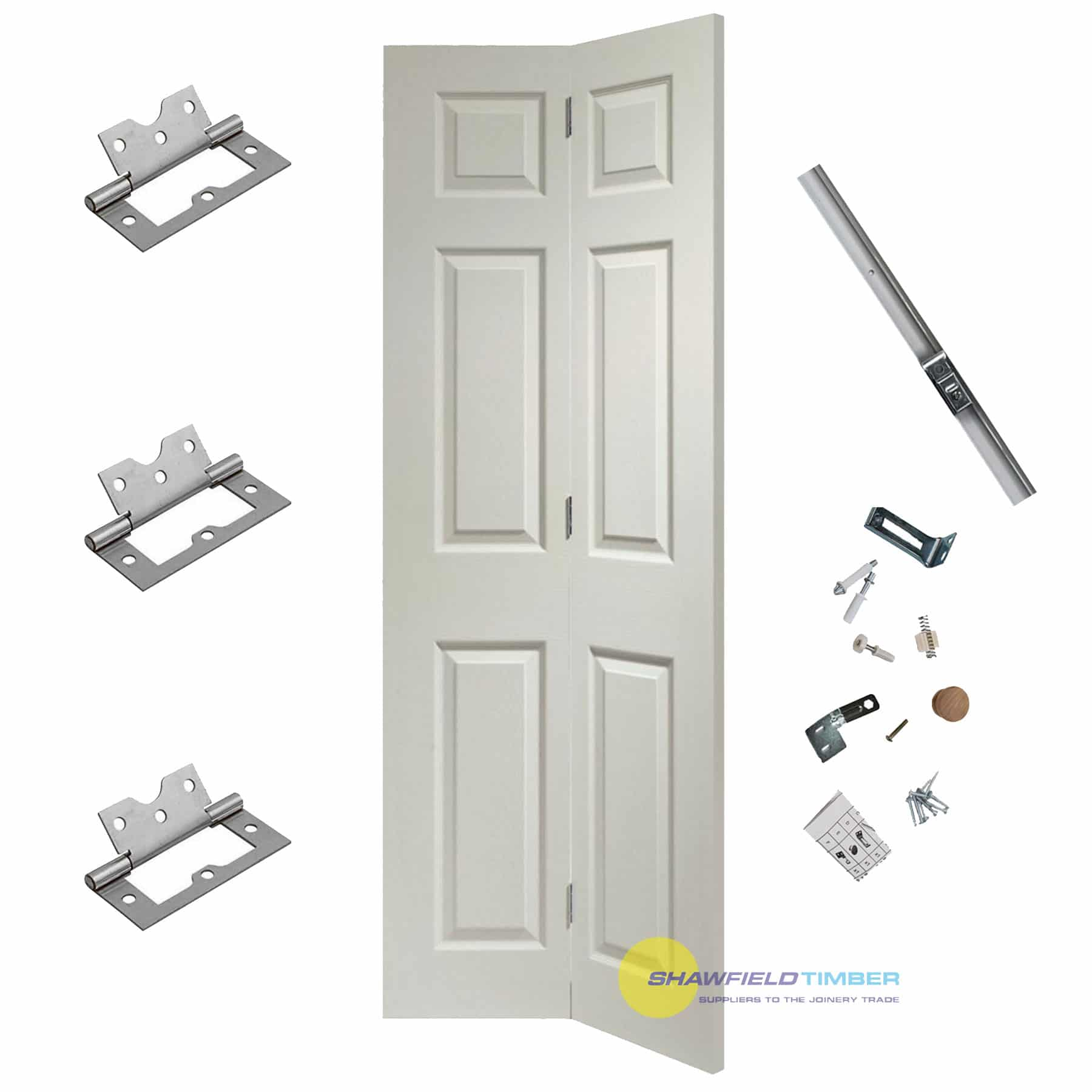 save off 06f82 901ef White BiFold Door Shaker 6 Panel with Kit