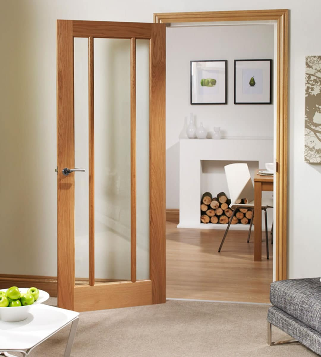 Worcester 3 Panel Oak Door with Clear Glass | Shawfield Doors