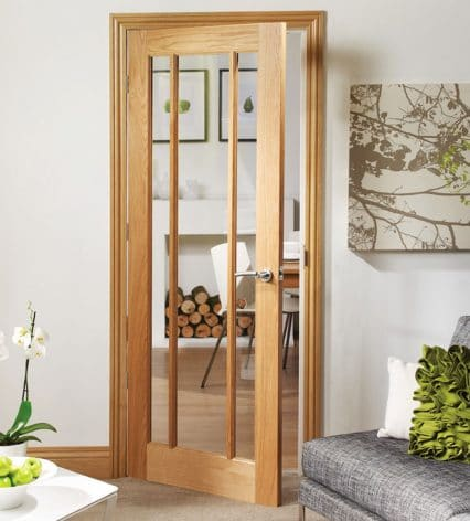 Pre Finished Worcester 3 Panel Oak Door With Clear Glass Shawfield